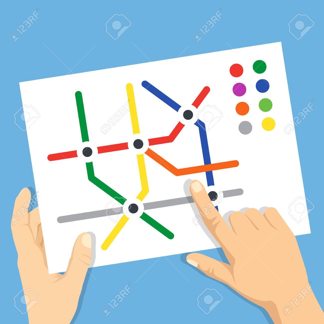 Subway Map Planner.Hands Holding Subway Map Find Metro Station Subway Navigation