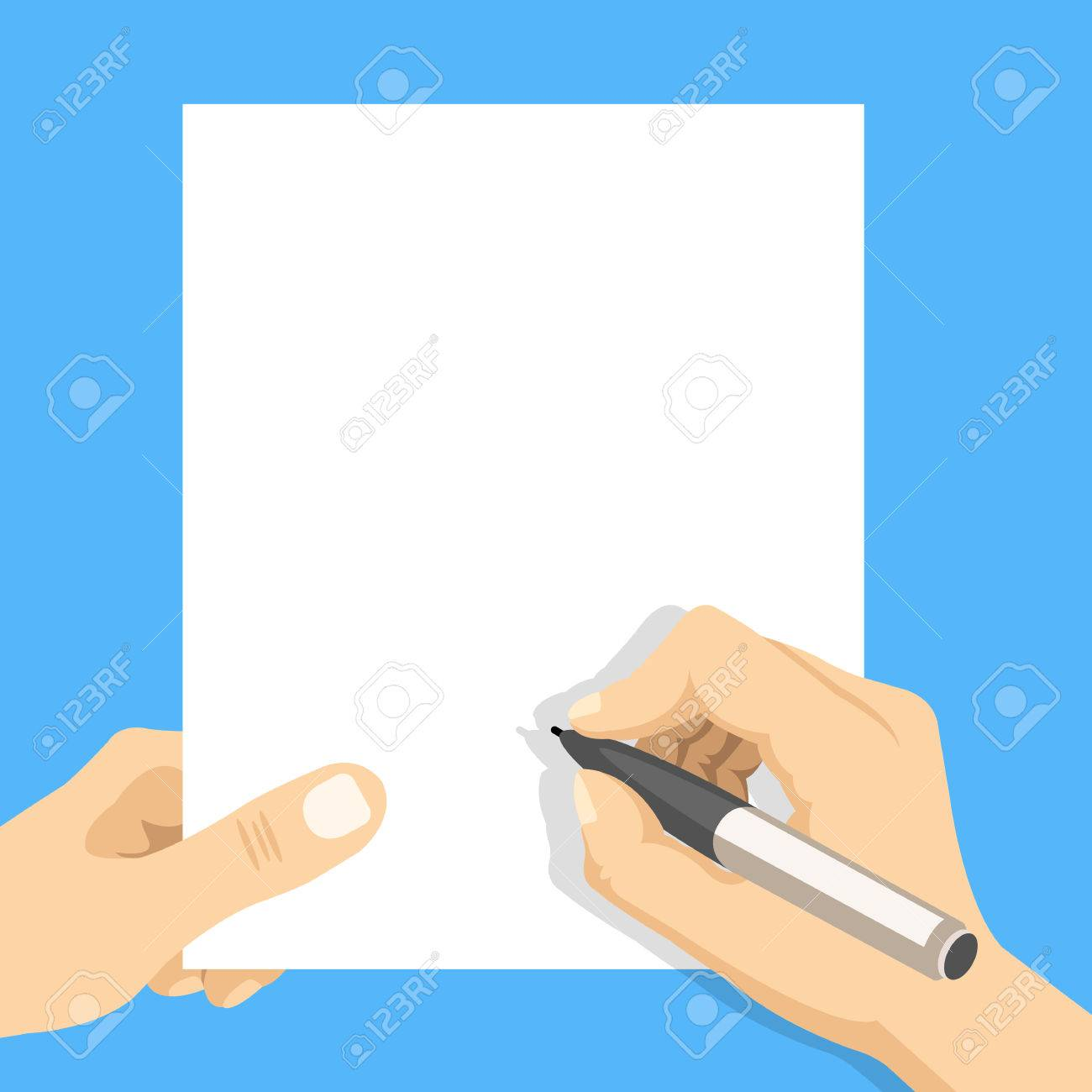 Hand holding blank sheet of paper and hand with pen. Modern flat design vector illustration - 72208467