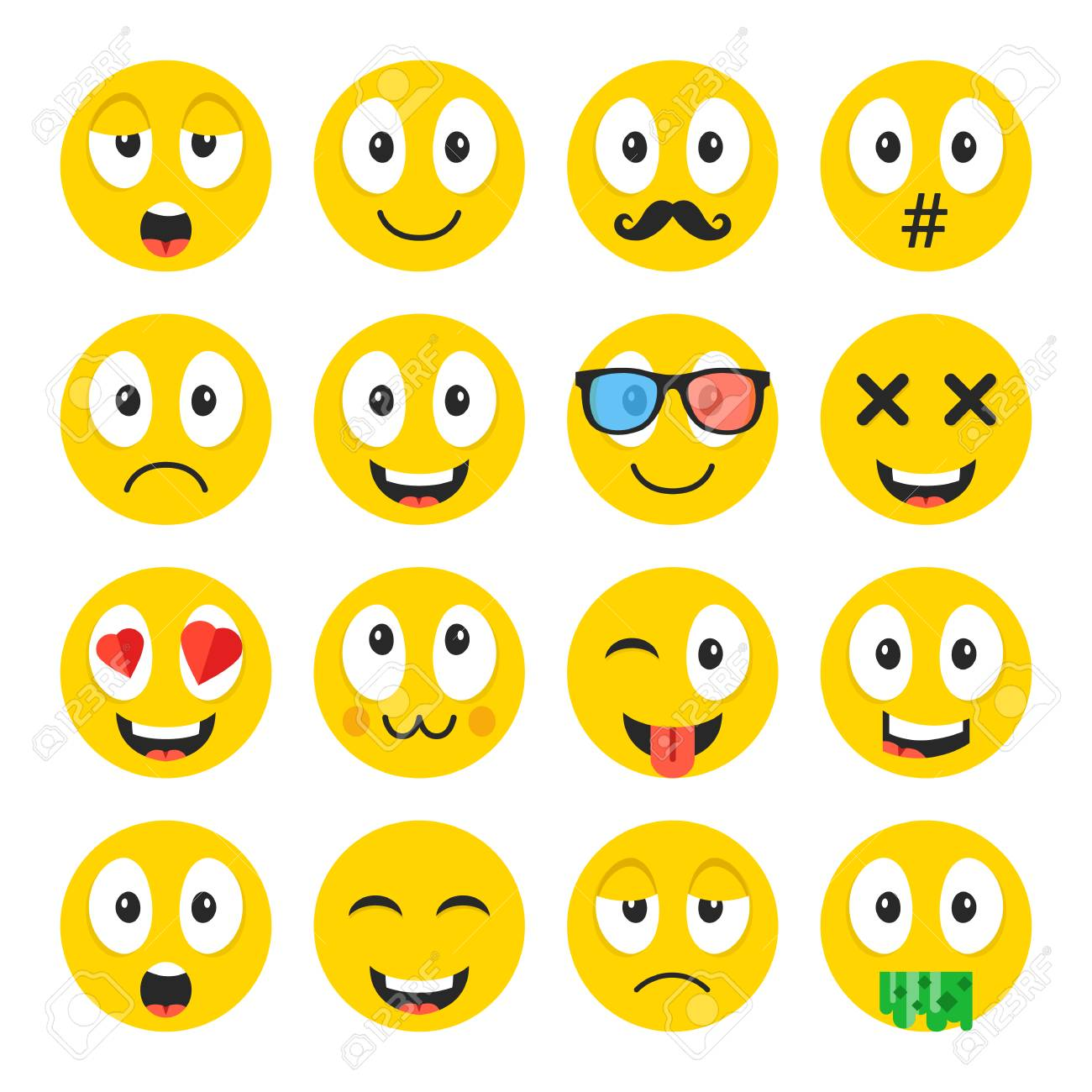 Emoji set funny cartoon emoticons cute smiley faces with funny cartoon emoticons cute smiley faces with different face expressions stock buycottarizona Images