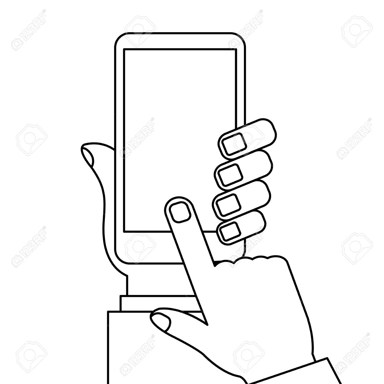 hand holding smartphone finger touching screen with blank white