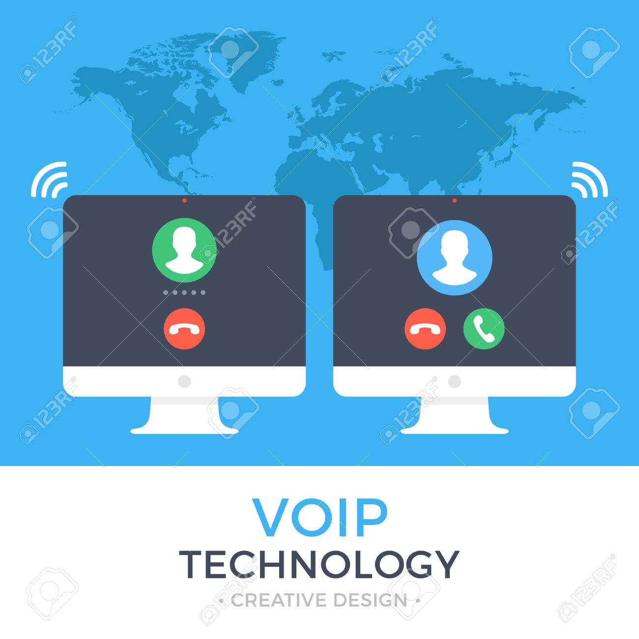 VoIP technology, voice over IP, IP telephony concept  Two PC
