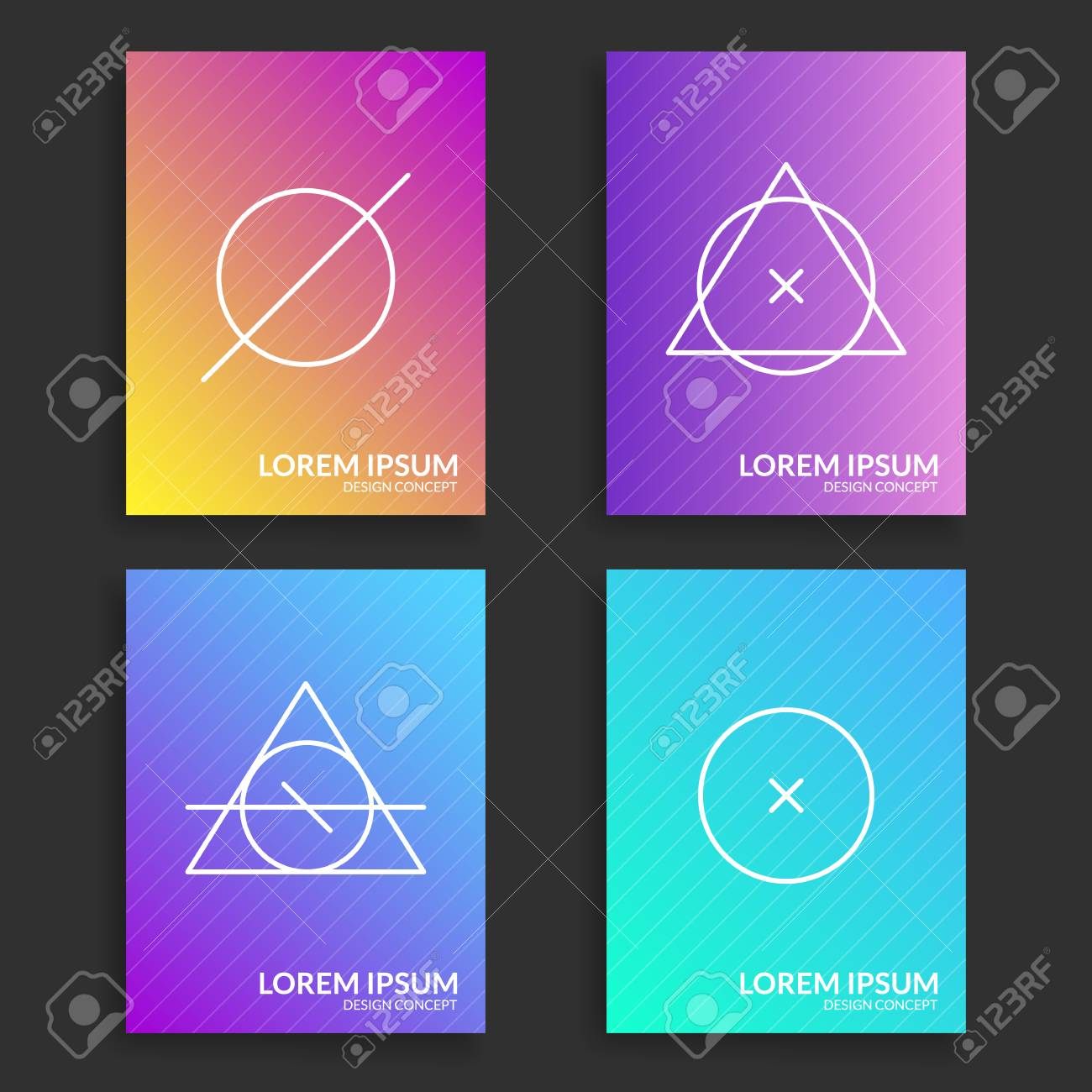Modern Covers Set. Trendy Gradient Colorful Templates With Simple ...