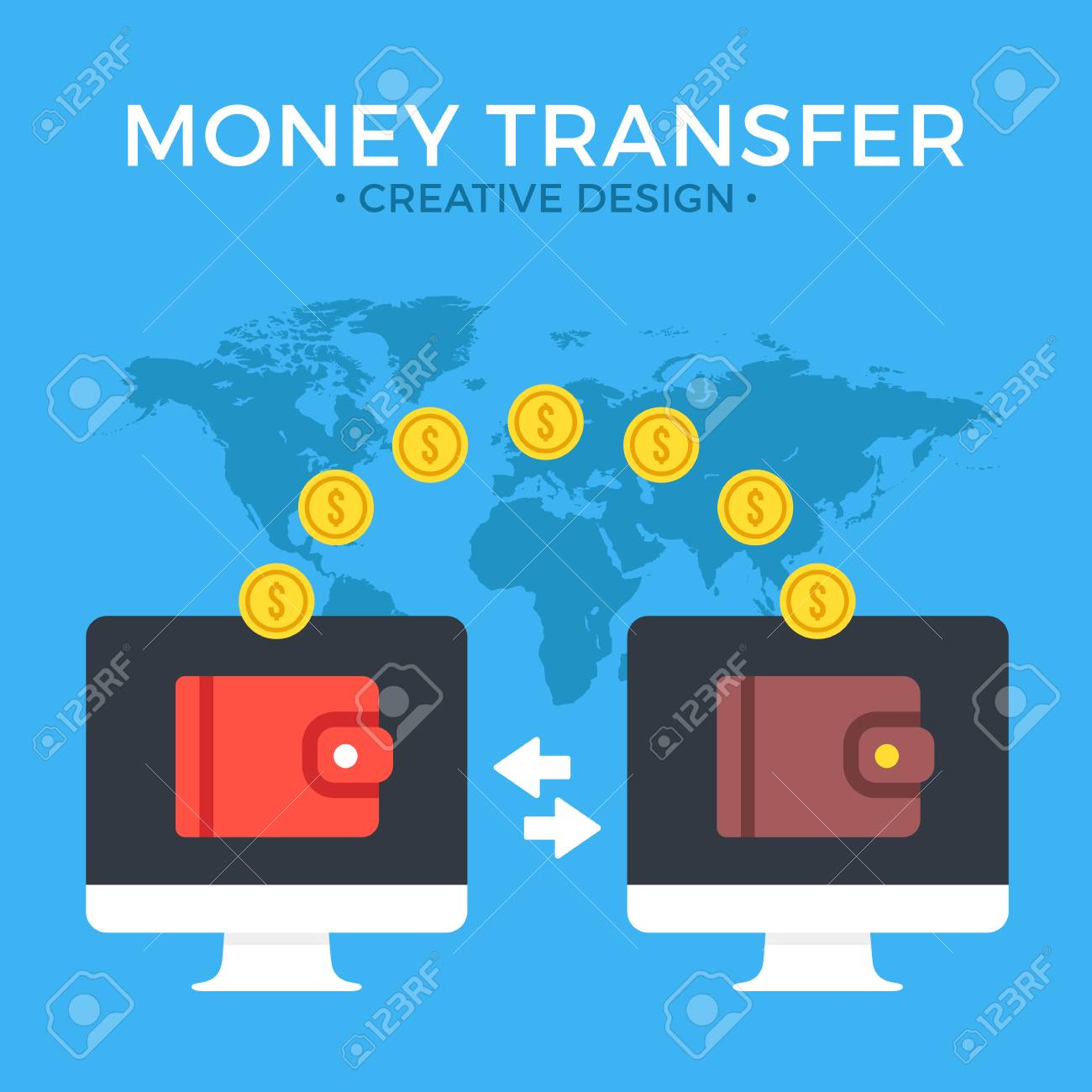 Money transfer  Two computers with wallets on screen and transferred