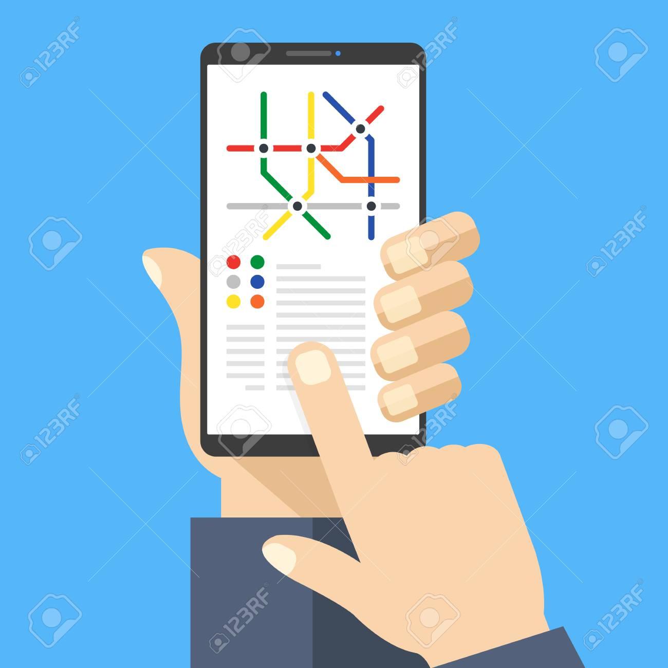 Subway Map Phone.Subway Map On Smartphone Screen Metro App With Metro Map Hand