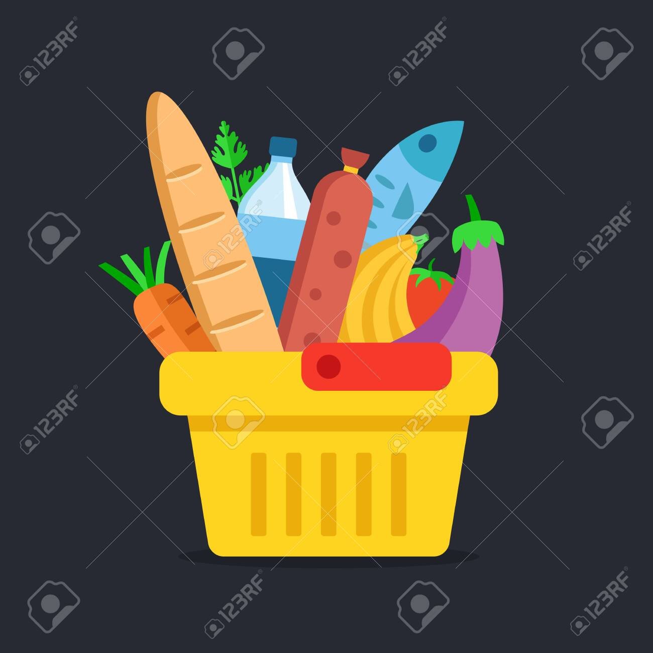 Shopping basket with food. Grocery, supermarket concepts. Flat design. Vector illustration - 121498730