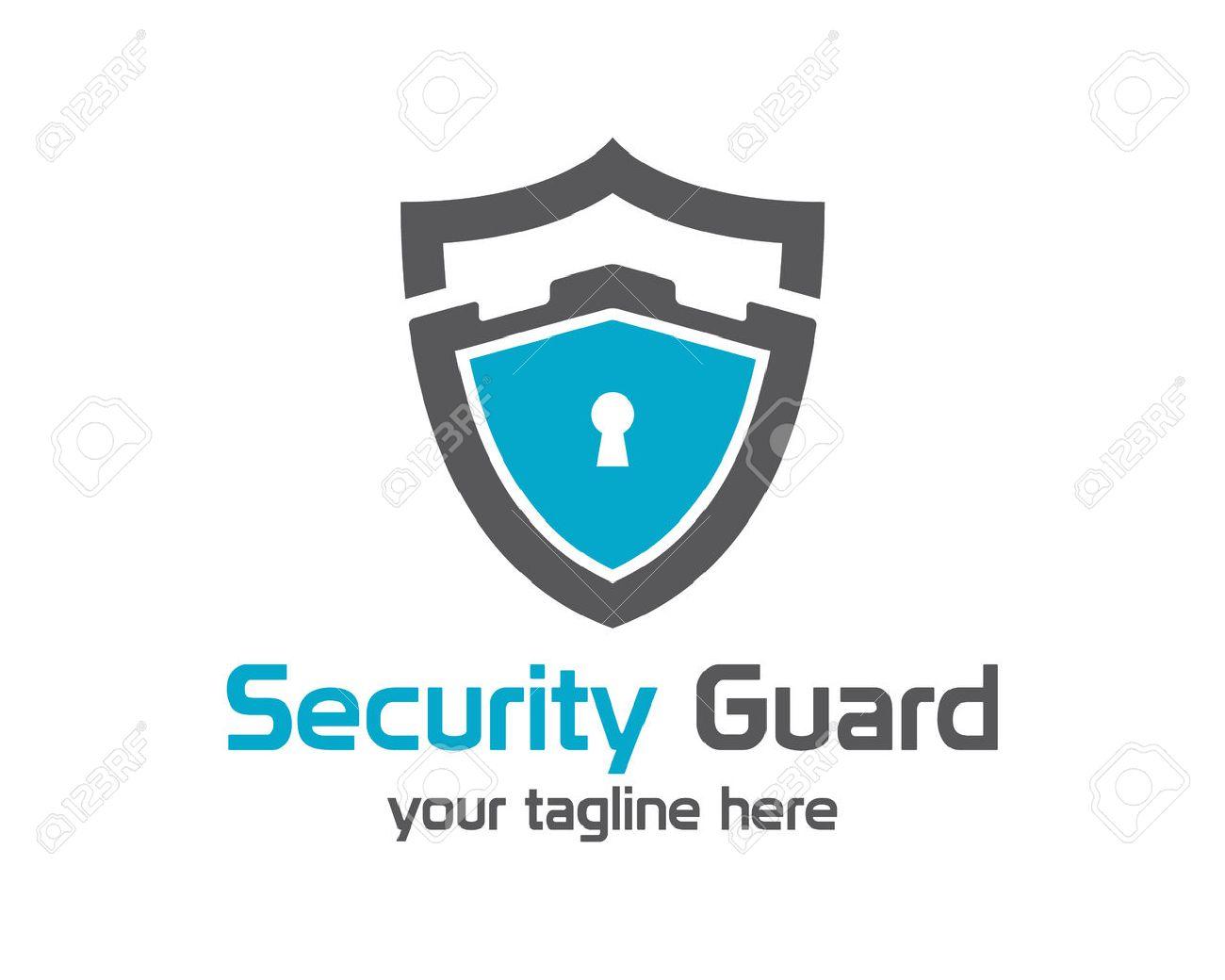 Security guard logo design vector. Security protection shield symbol . Secure shield icon vector. Privacy lock icon . - 41503743