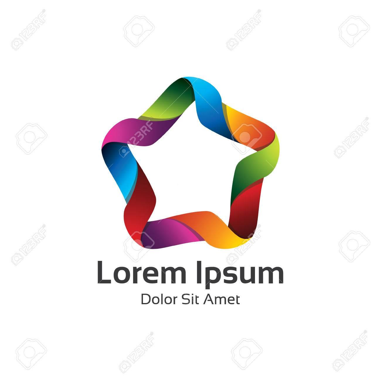 Bunte 3d Kreis Stern Logo Vorlage. Star Vektor-Logo-Design Branding ...