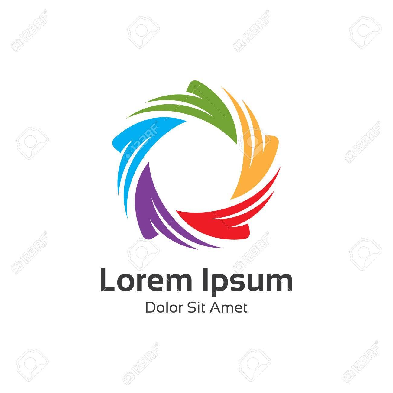 Colorful 3d circle star logo template. Star vector logo design branding corporate identity. - 54695585