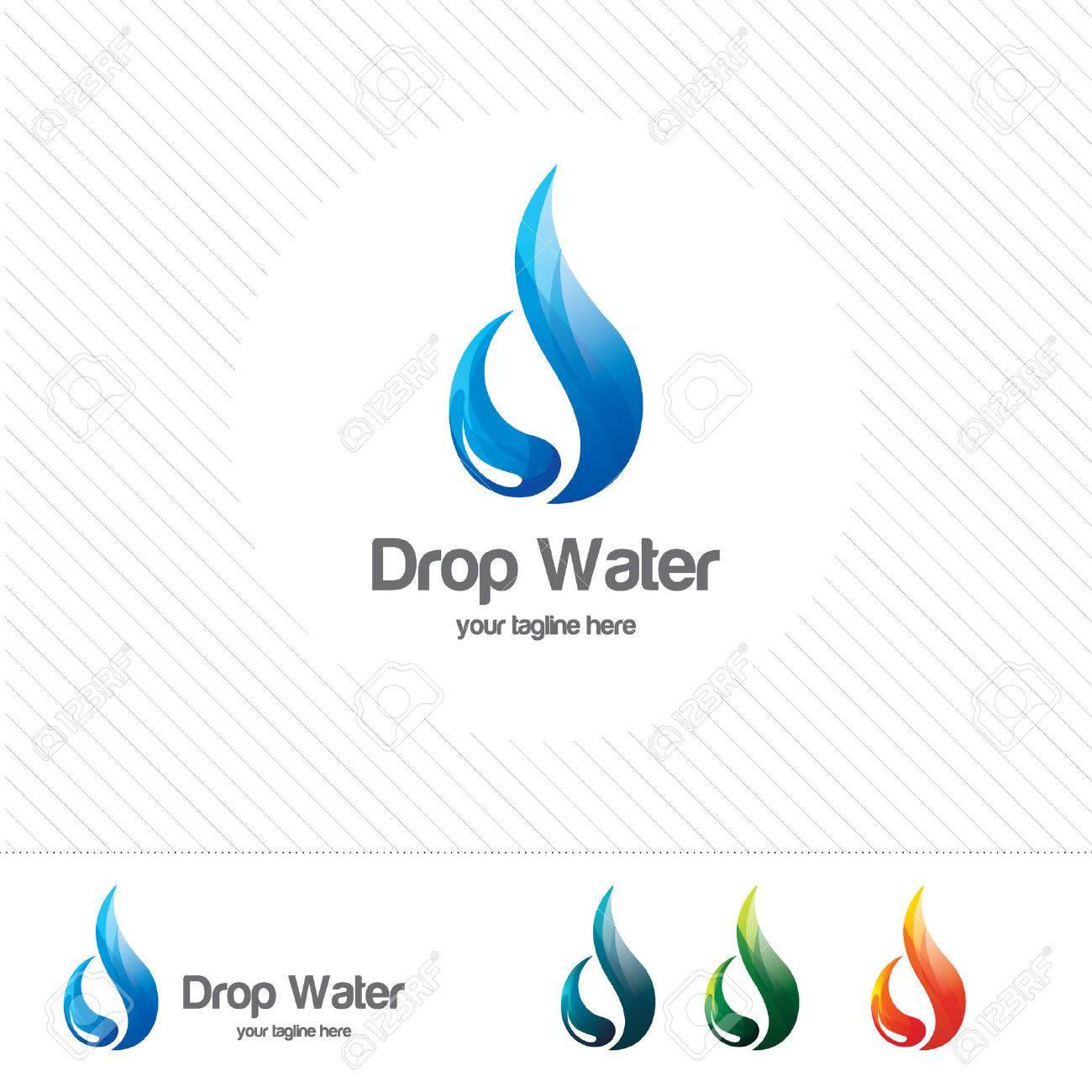 water drop logo design vector template natural mineral aqua