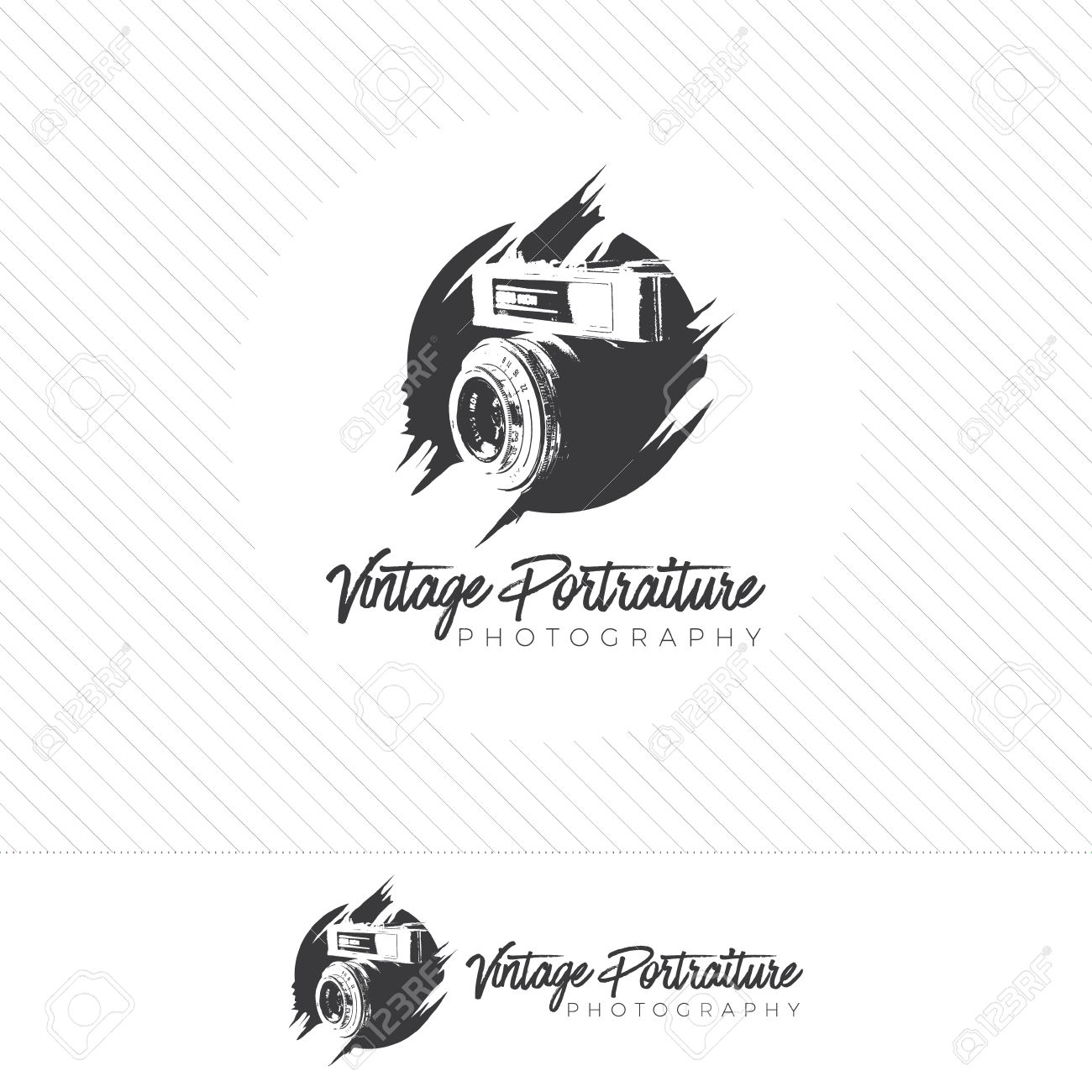 abstract silhouette photography logo. Vintage style camera icon vector with photographer holding a lens. - 71742099