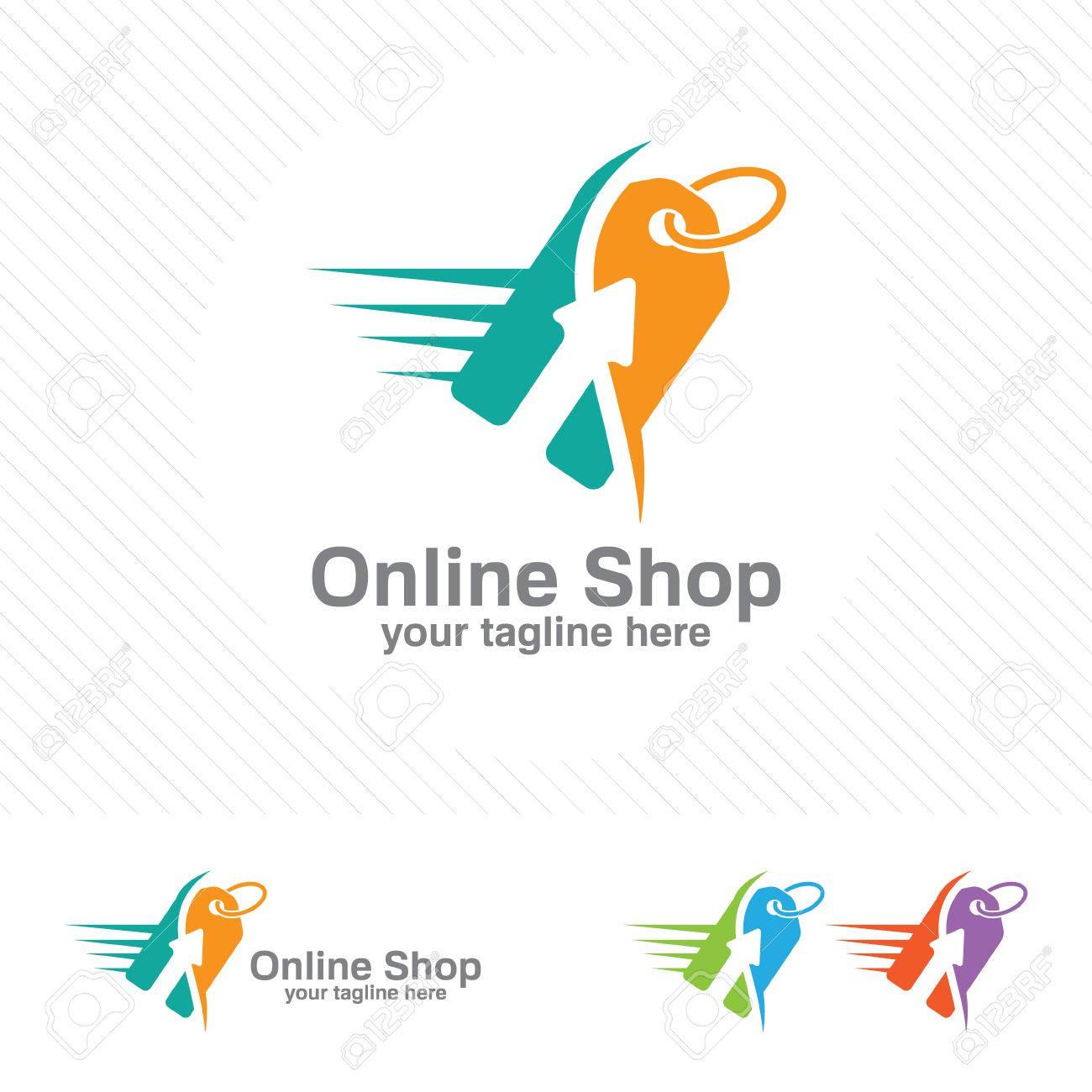 Online Store Logo Design Vector Shopping Cart And Price Tag