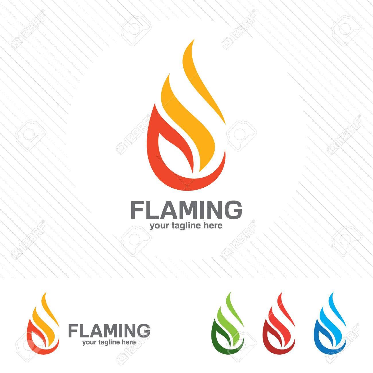 Flame Logo Template. Oil And Gas Logo Vector. Fire Vector Design ...