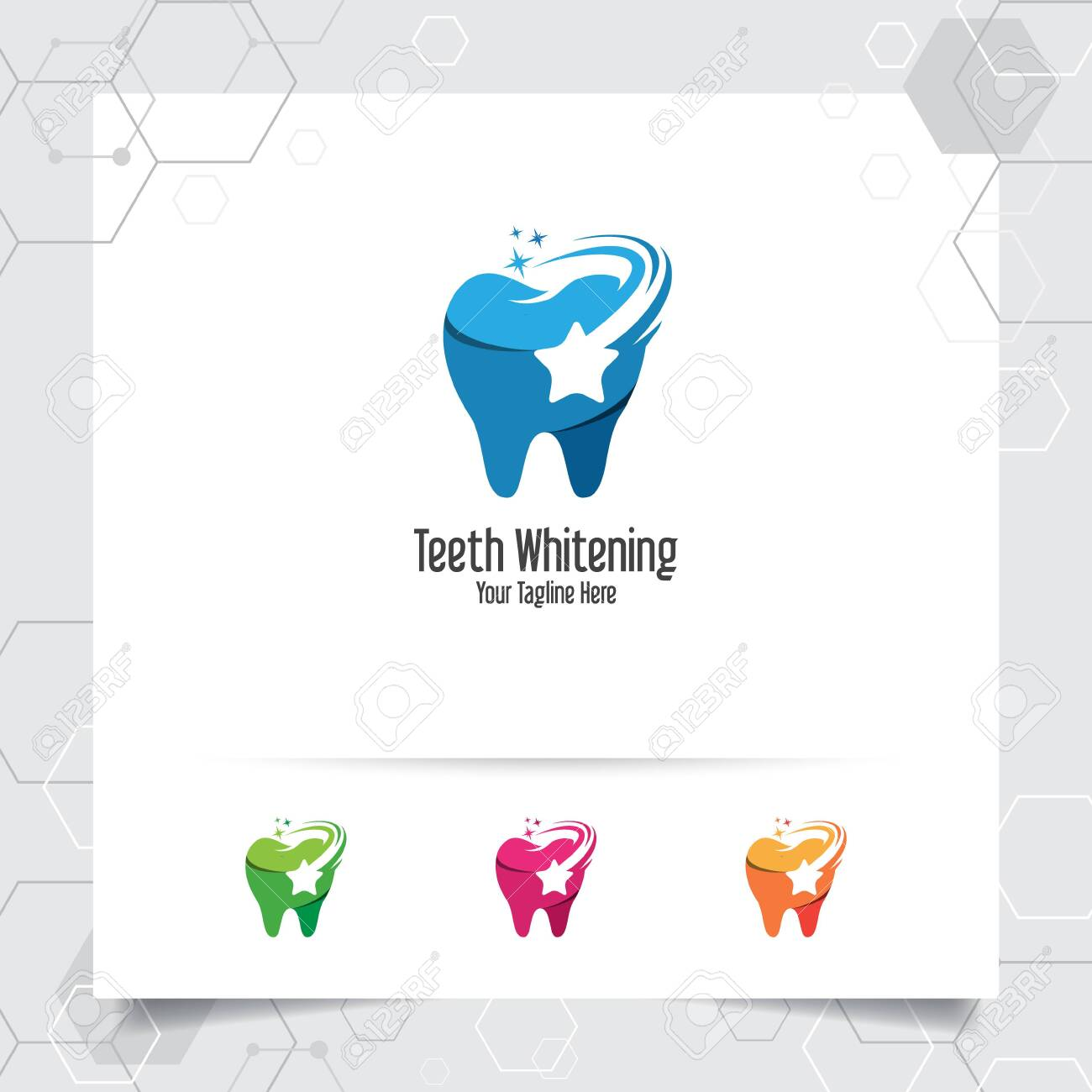 Dental Logo Dentist Vector Design With Concept Of Star Symbol Royalty Free Cliparts Vectors And Stock Illustration Image 121561286