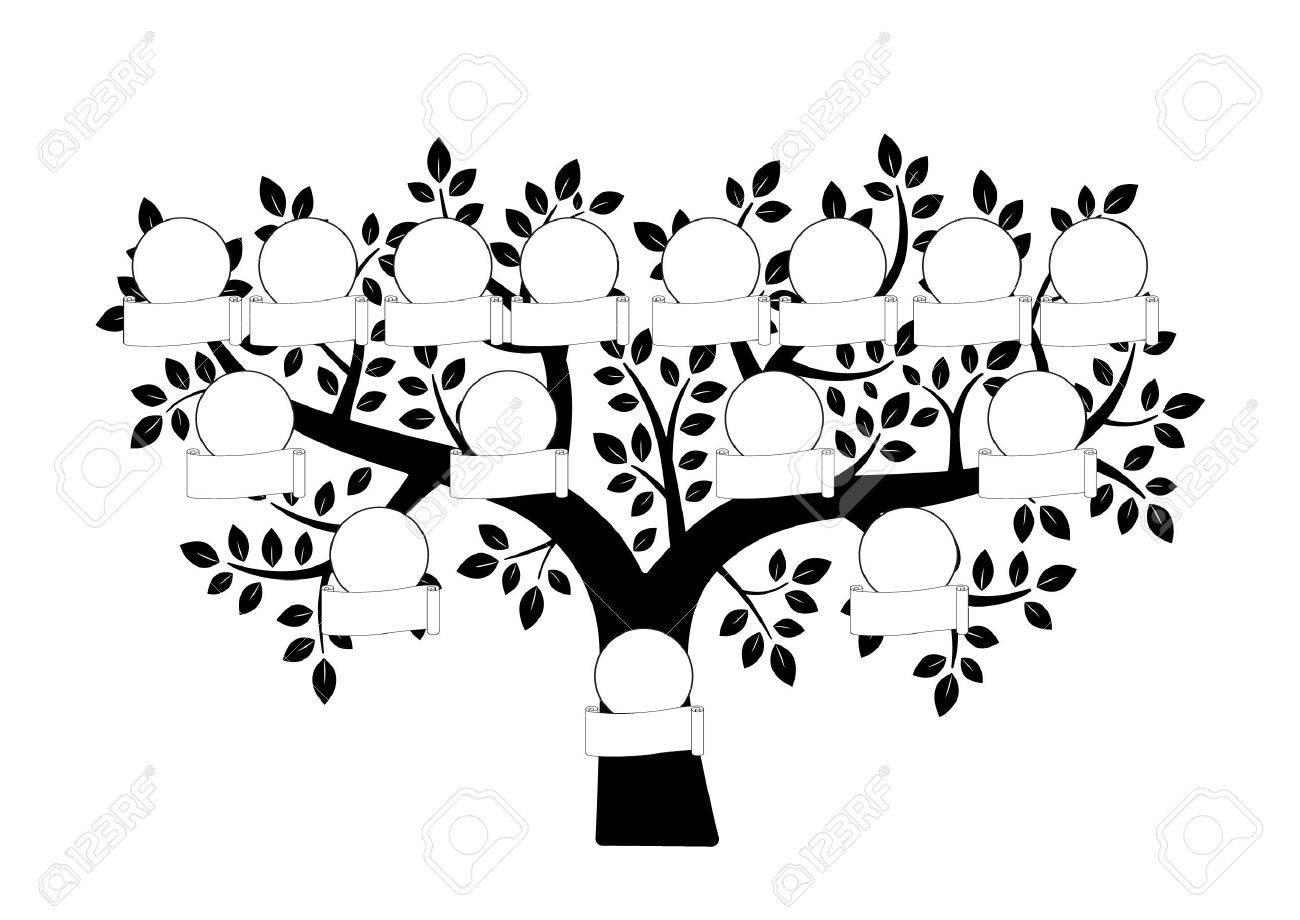 Rbol Genealógico Y Placa De Identificación Ilustración Vectorial