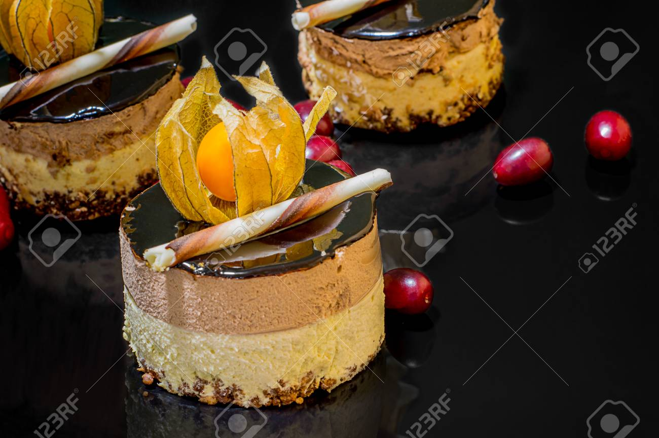 Outstanding French Cakes On A Black Glossy Background With Real Reflection Birthday Cards Printable Benkemecafe Filternl