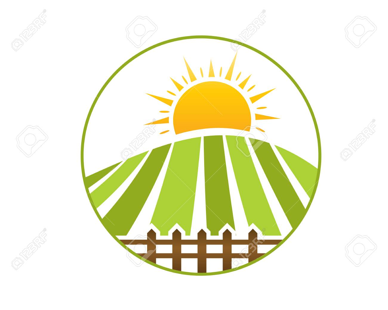 farm field with sun and farm fence within an outline of circle rh 123rf com Free Farm Art Pictures Farm SVG Free