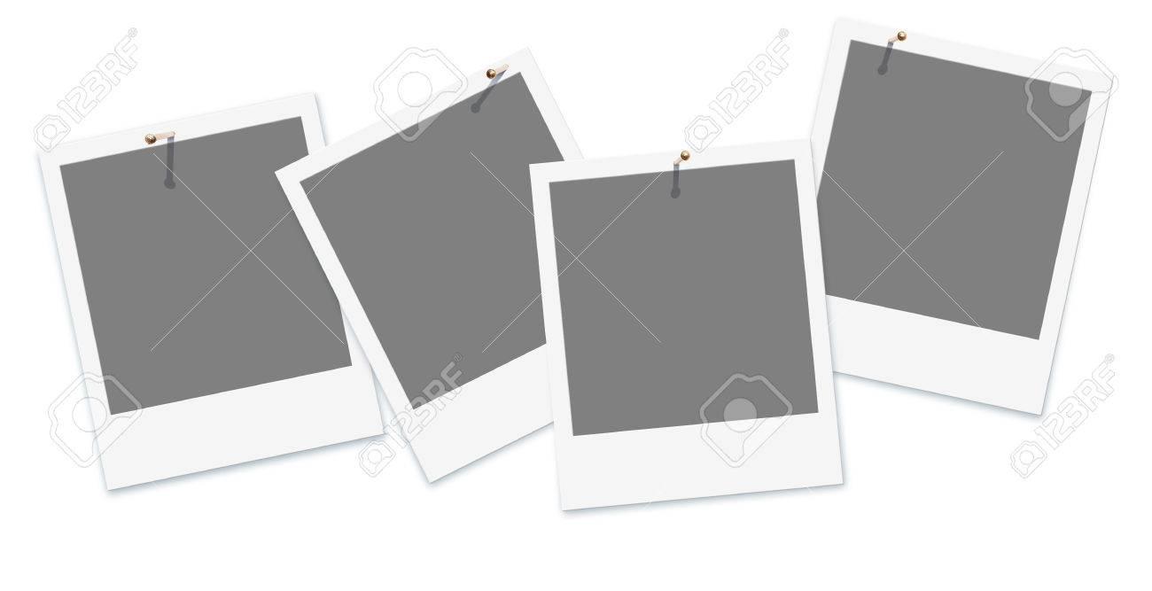 Vier Leere Schnappschuss-Rahmen In Einer Reihe Mit Nägeln Auf Weißem ...