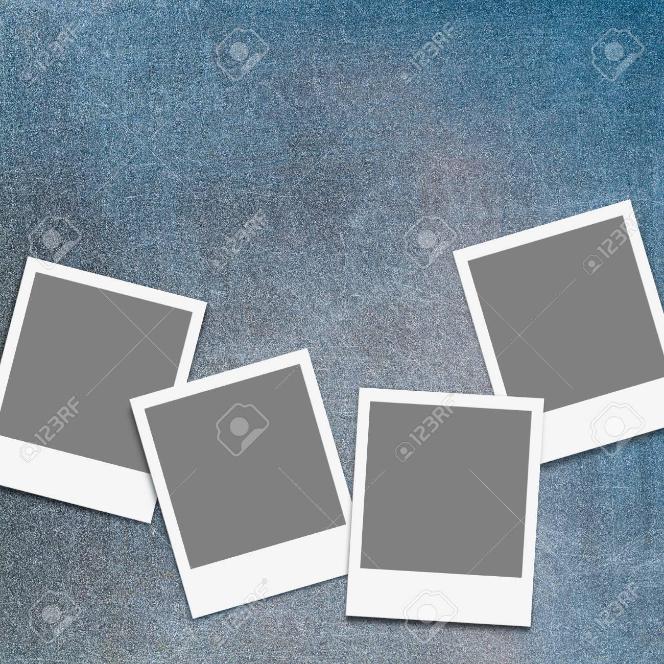 Cuatro Marcos De Fotos Instantáneas En Blanco De Rayado, Viejo ...