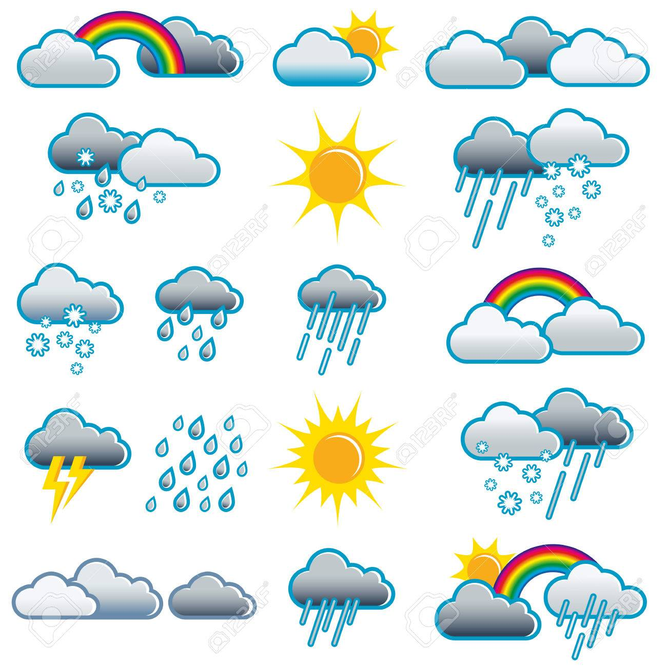 Vector - Weather icons of different weather situations; Weather symbols for all  weather situations; Weather forecast; Weather report