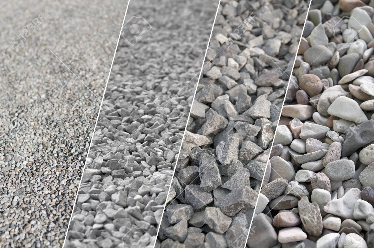 Four pictures of gray gravel in different sizes and different