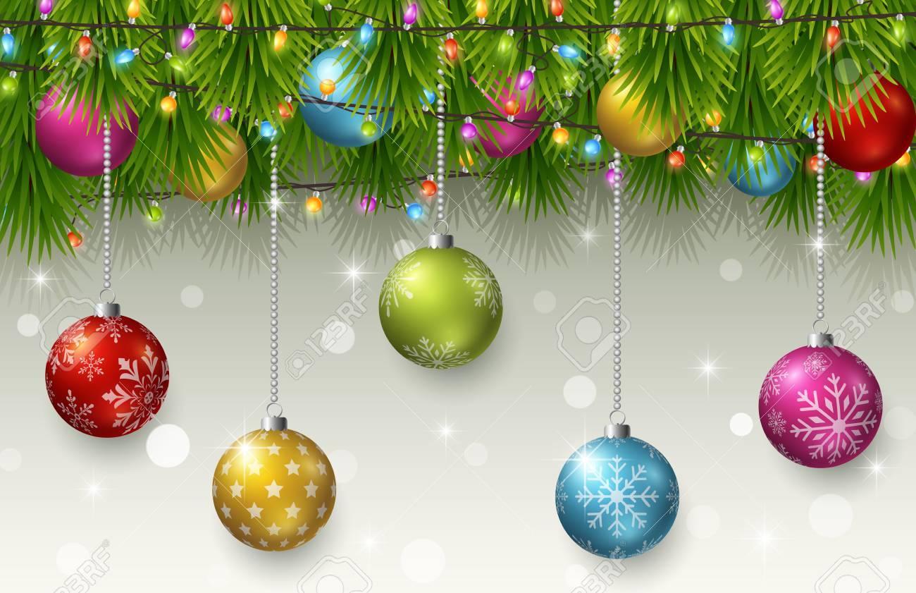 Fond De Noël Avec Des Branches De Sapin Des Boules De Couleur Et