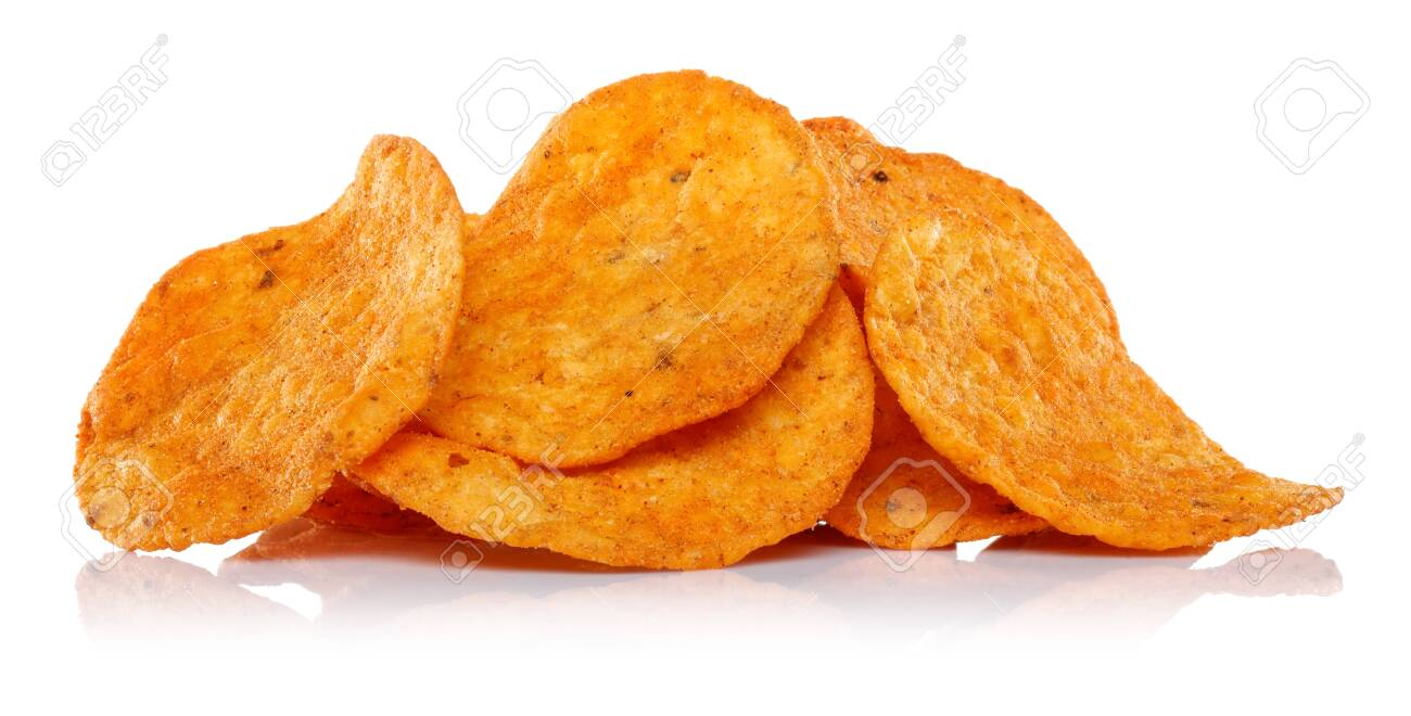 Heap of corn chips isolated on white background - 141226810