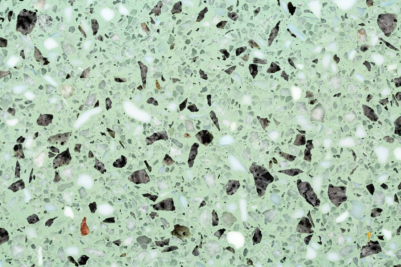 Close Up Of Terrazzo Flooring Background Texture With Green Base