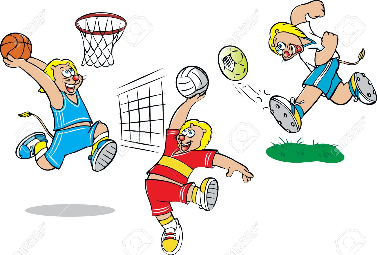 vector illustration of lion doing various sports royalty free