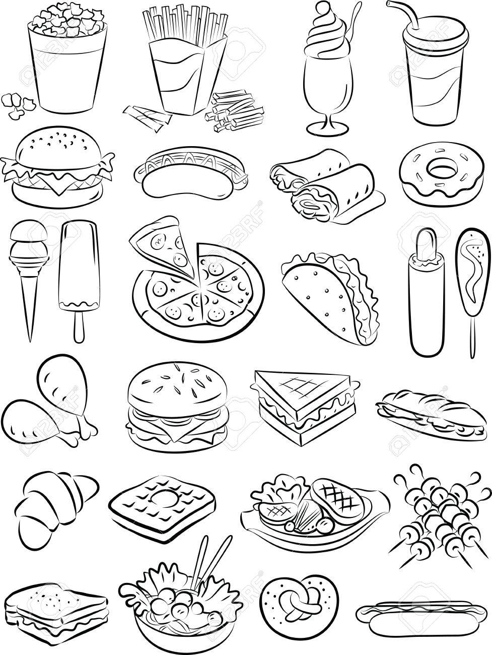 vector illustration of fast food collection in black and white Stock Vector - 26614965