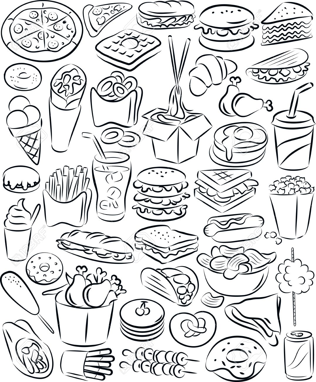 vector illustration of fast food collection in black and white Stock Vector - 26615060