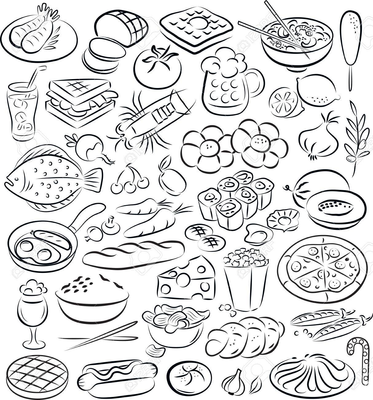 vector illustration of food collection in black and white - 26615103