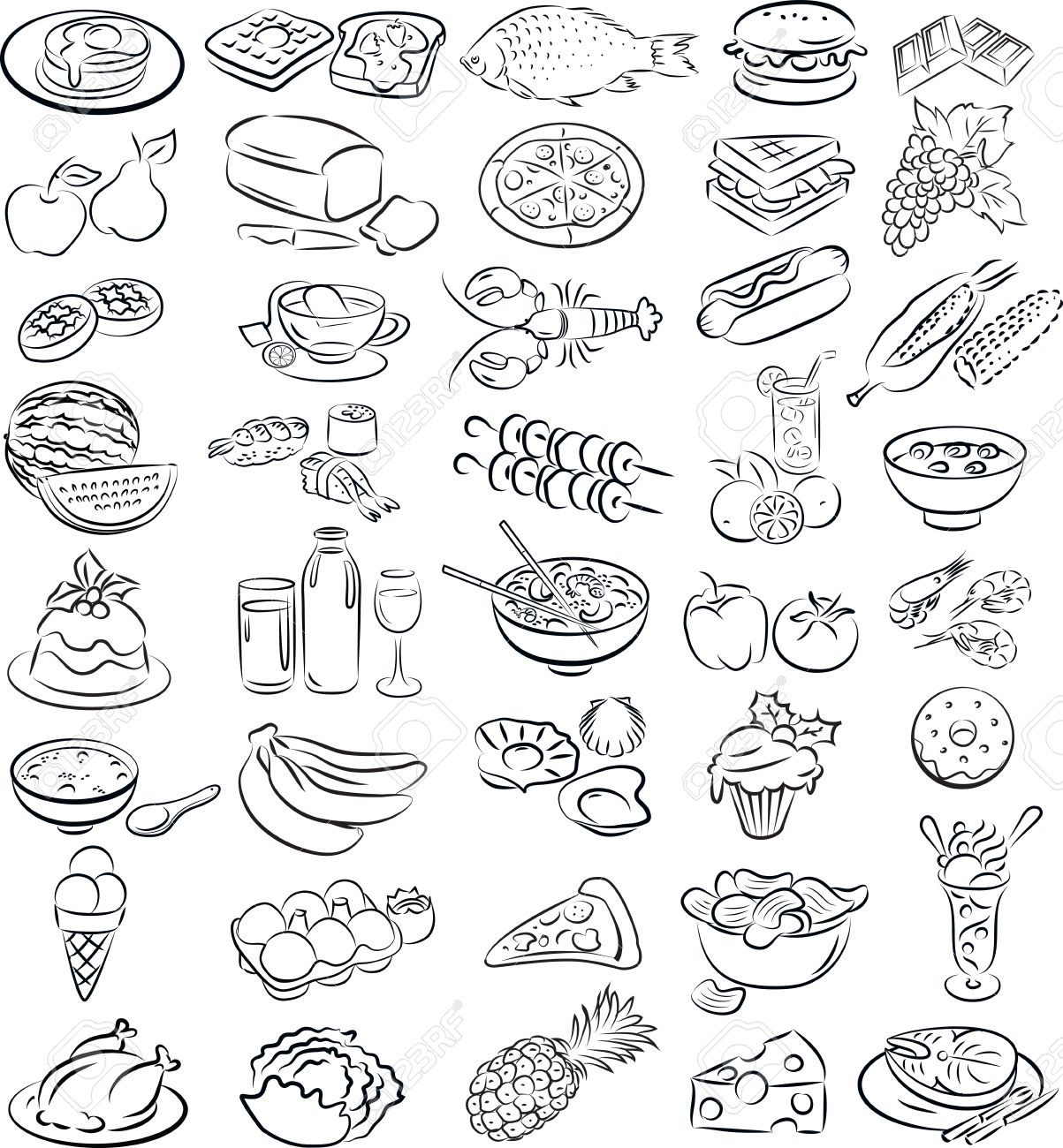 vector illustration of food collection in line art mode - 26617937