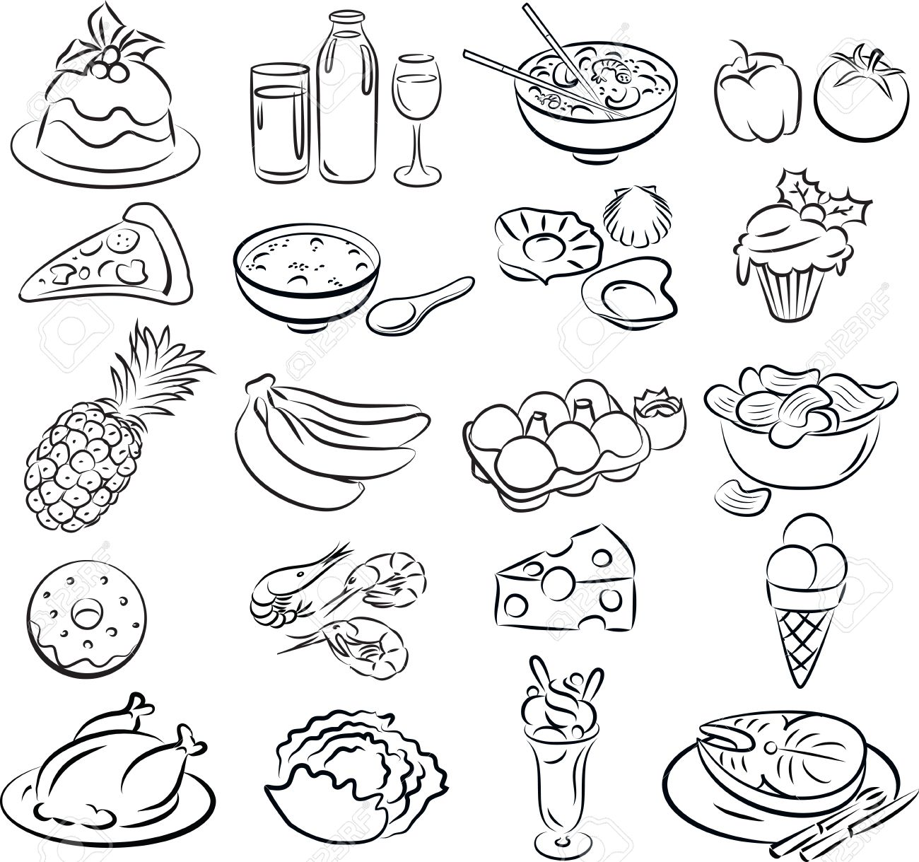 Vector illustration of food collection in black and white - 26617938