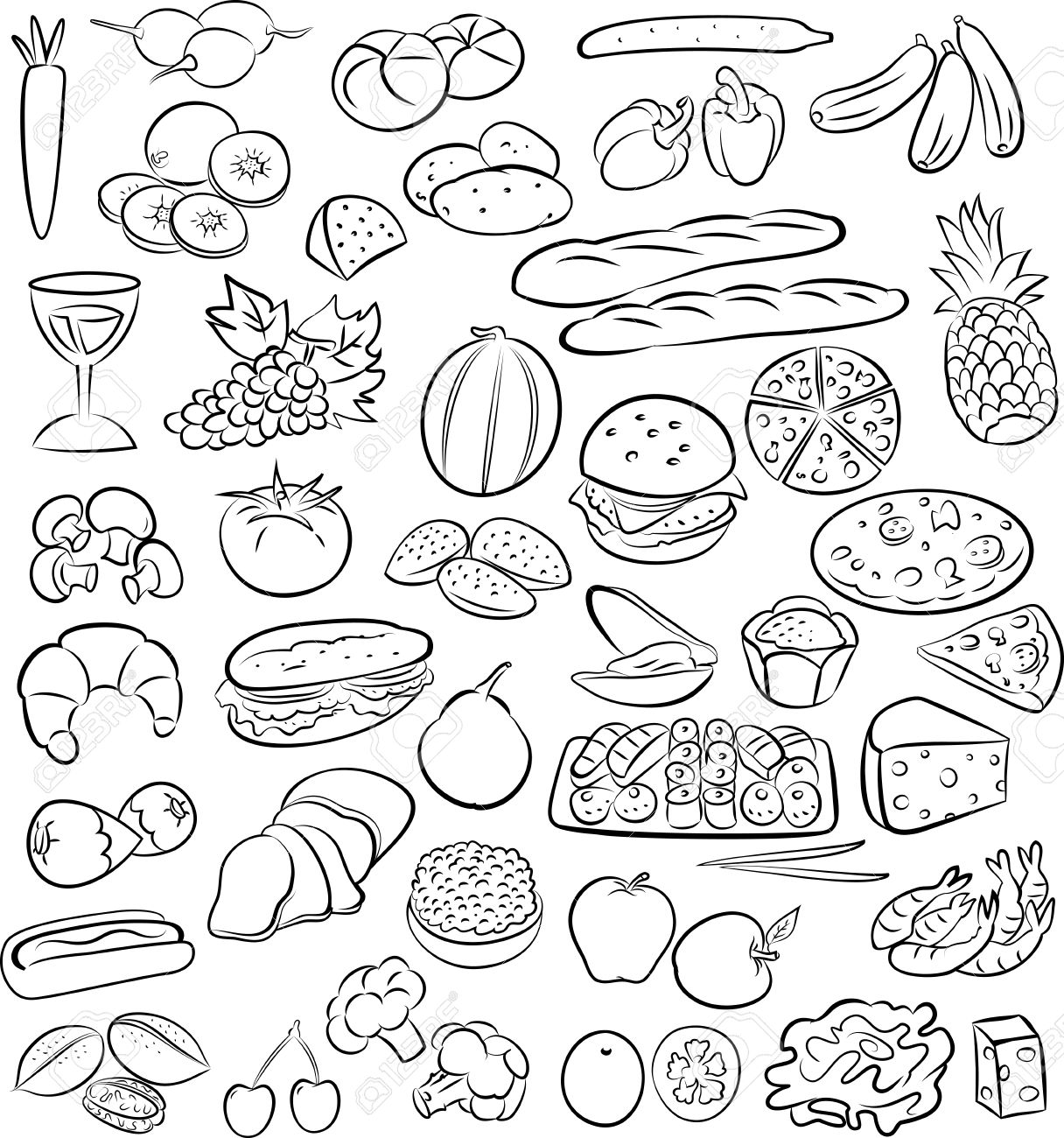 vector illustration of food collection in line art mode - 26617939