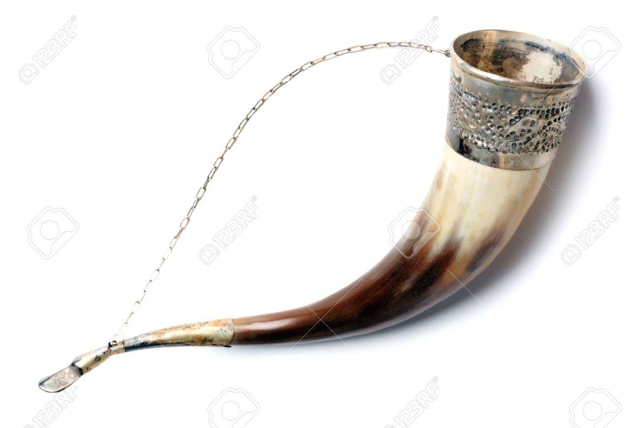 Drinking horn isolated on white Stock Photo - 5839207
