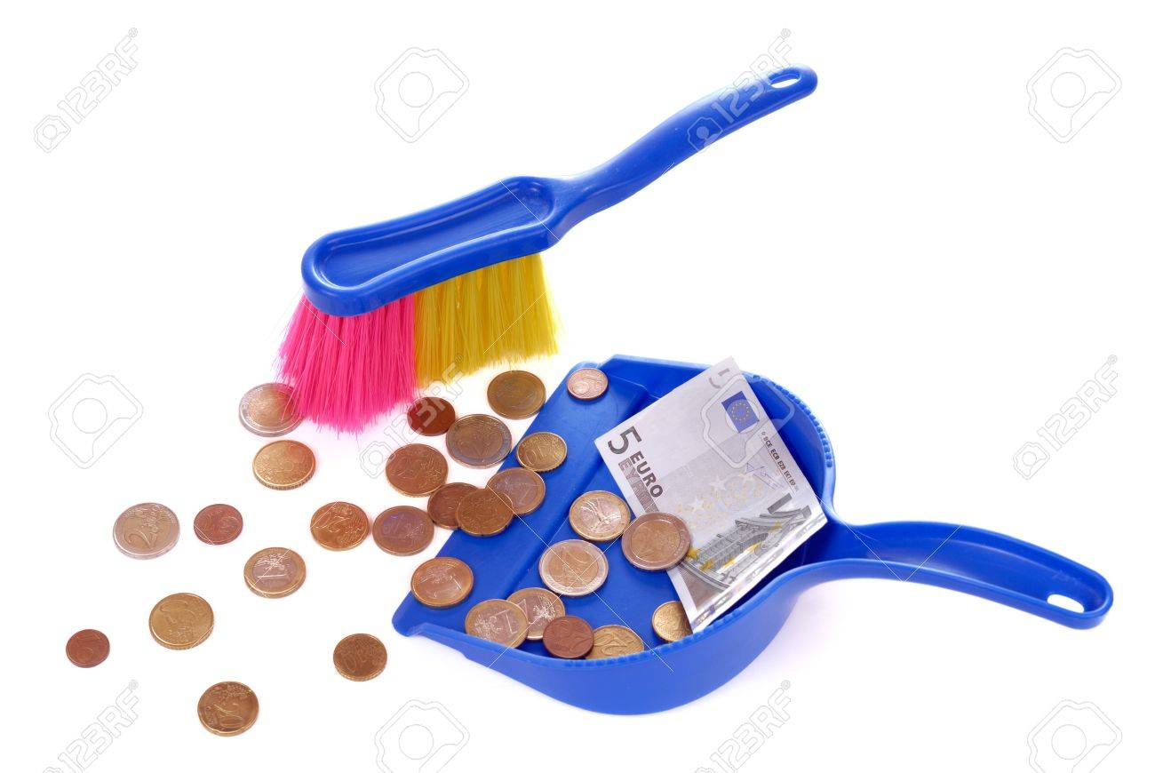 Brush sweeping euro coins and banknote isolated on white Stock Photo - 8205512