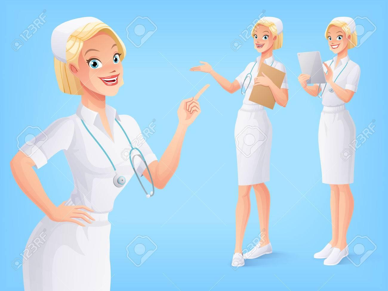 Enfermera Médica Sonriente Joven En El Uniforme Blanco Con El Estetoscopio En Varias Poses Un Conjunto De Caracteres Aislados Vector Del Estilo Del