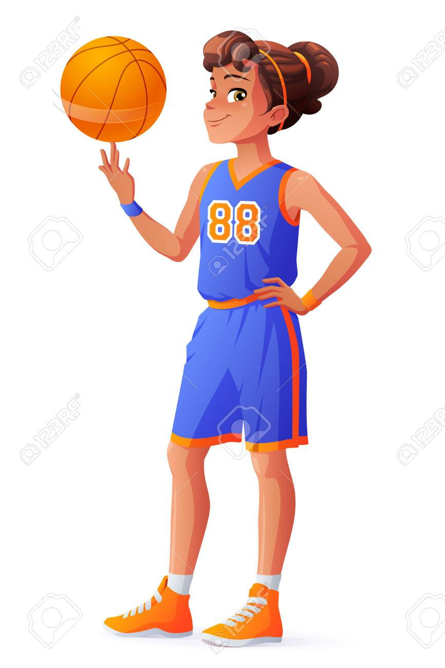 Cute young pretty young basketball player girl in blue uniform spinning the ball on her finger. Cartoon illustration isolated on white background. - 70085497