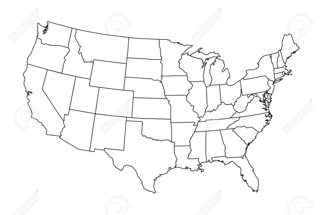 High detailed map of USA with states borders - 168546631