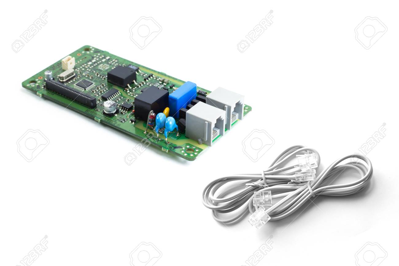 Telephone Kit Electronics Printed Circuit Board With Rj 11 Cable Circuits Stock Photo