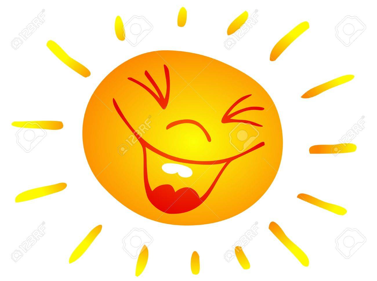 Line Art Of Sun : Laughing sun clipart