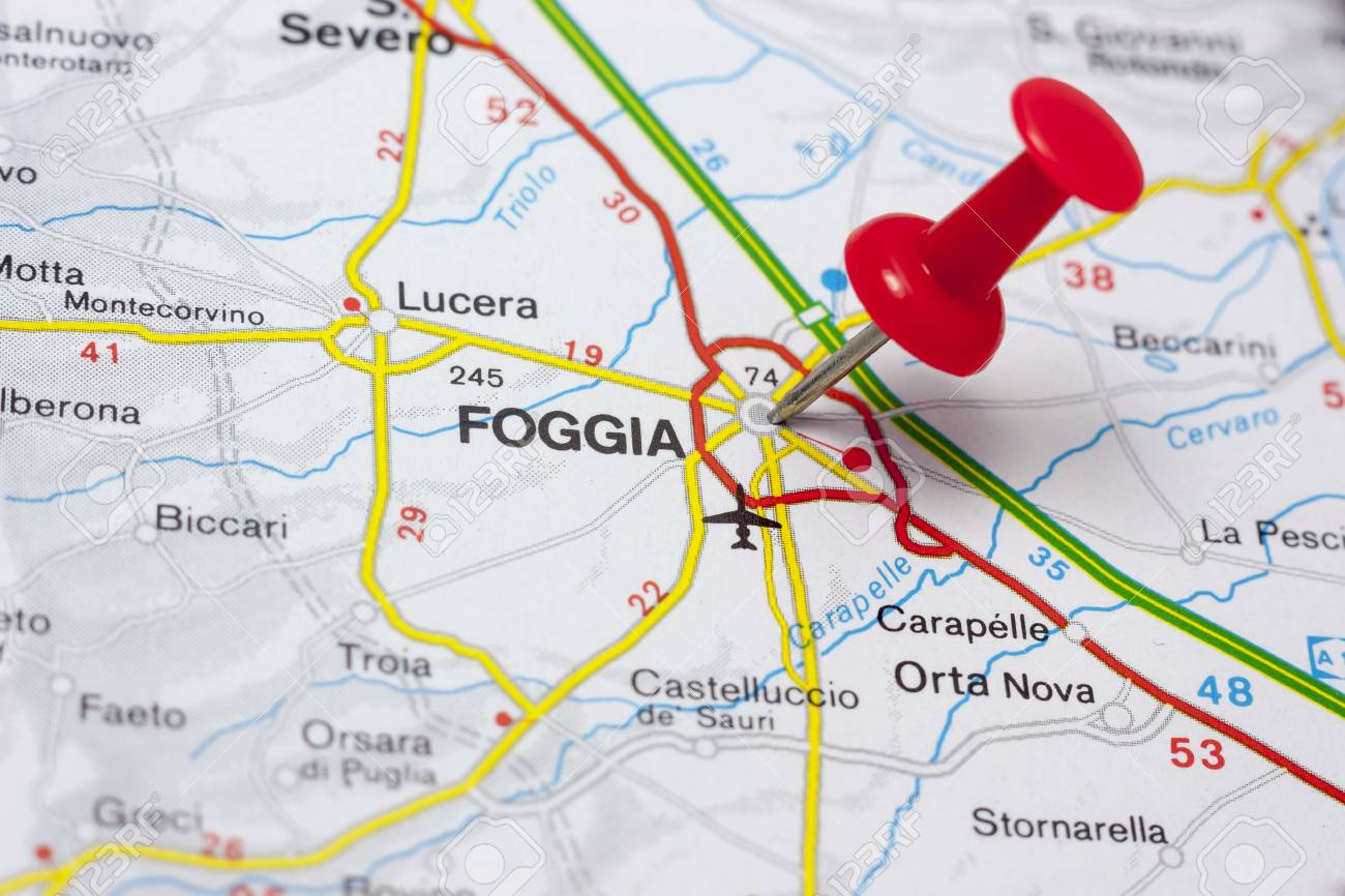 Closeup Of Foggia Italy On A Map Stock Photo Picture And Royalty