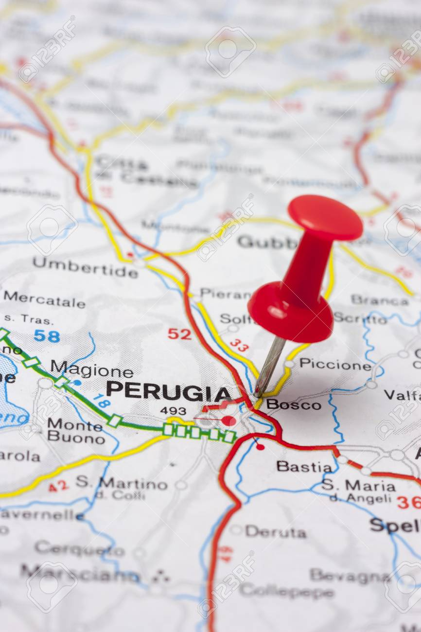 Close Up On A Map Of Perugia Italy Stock Photo Picture And Royalty