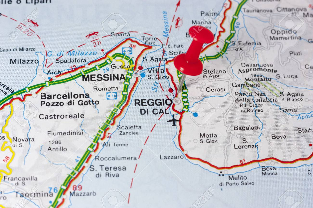 Closeup of Reggio Calabria Italy On A Map on sicily italy map, cinque terre italy map, cambria italy map, campobasso italy map, cumae italy map, aosta valley italy map, azzurro italy map, sacco italy map, acireale italy map, formia italy map, baiae italy map, sardinia map, vatican city italy map, milan italy map, abruzzo italy map, salerno italy map, palermo map, potenza italy map, basilica italy map, regions of italy, naples italy map,