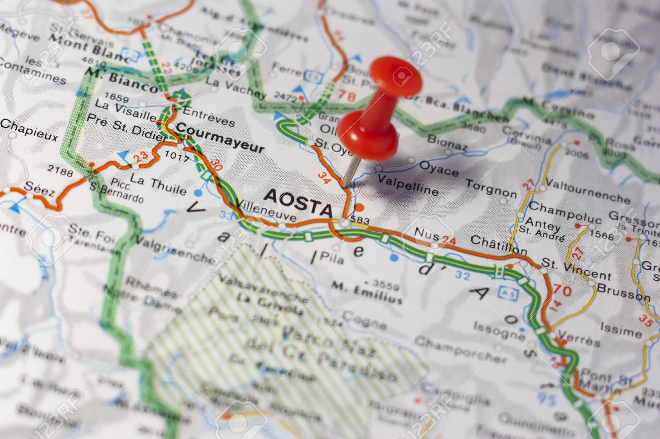 Road Map Of The City Of Aosta Italy Stock Photo, Picture And Royalty ...