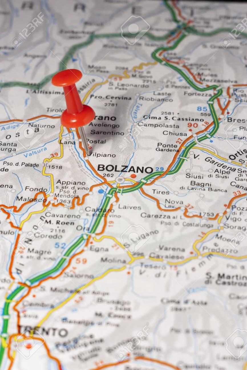 Bolzano Cartina.Road Map Of The City Of Bolzano Italy Stock Photo Picture And