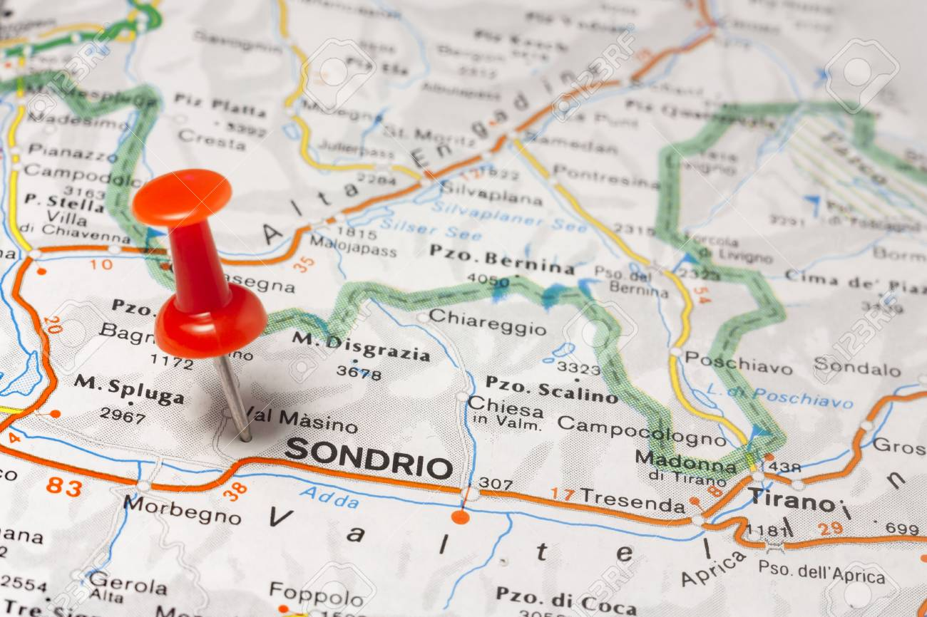Road Map Of The City Of Sondrio Italy Stock Photo Picture And