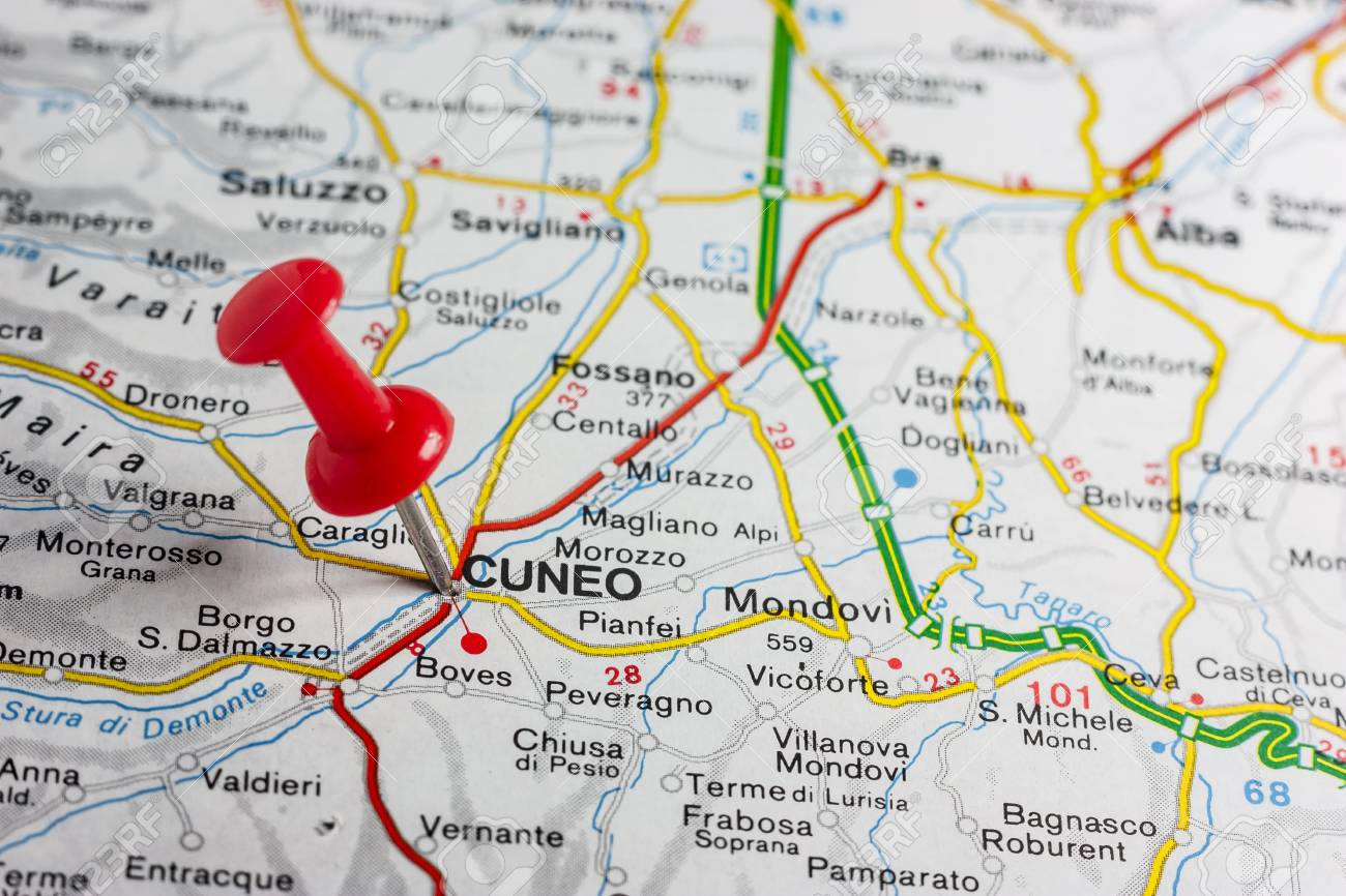 Road Map Of The City Of Cuneo Italy Stock Photo Picture And Royalty