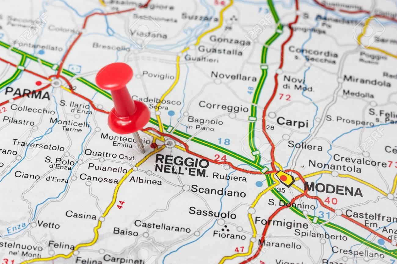 Straßenkarte Der Stadt Reggio Emilia Italien Lizenzfreie Fotos