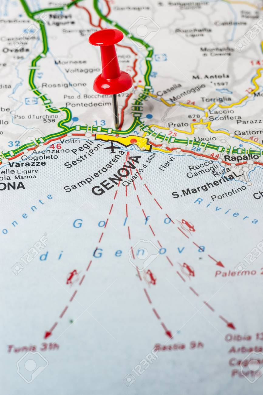 Road Map Of The City Of Genova Italy Stock Photo Picture And